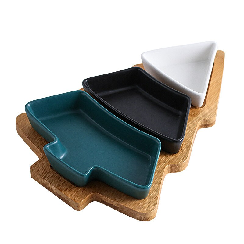 Creative mixed color ceramic snack plate