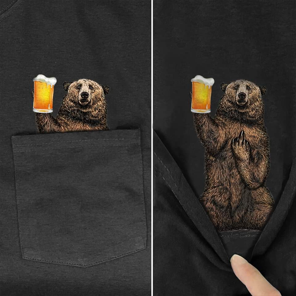 Bear Middle Finger Pocket T-Shirts