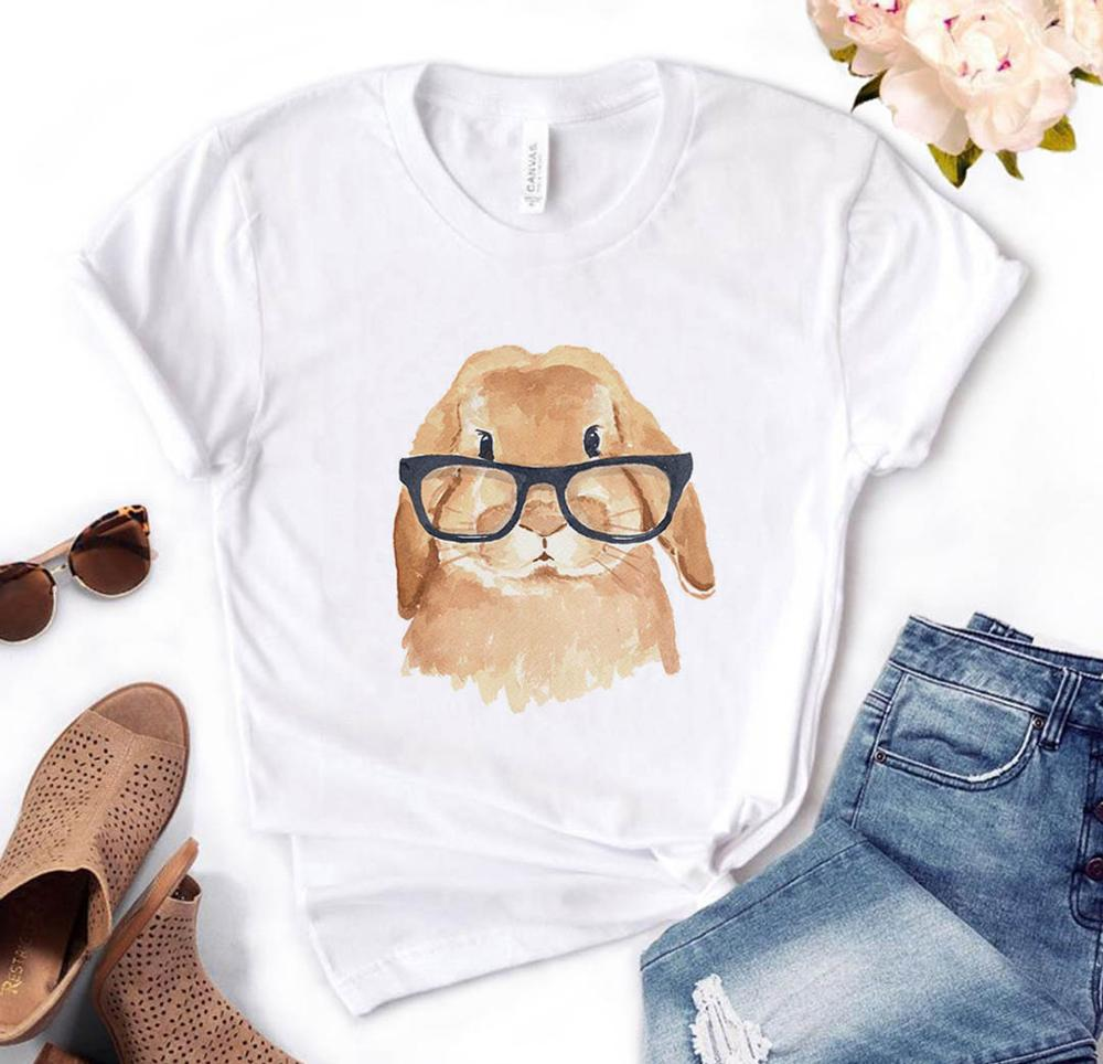 Rabbit With Glasses Funny Women's Shirt (5946585579700)