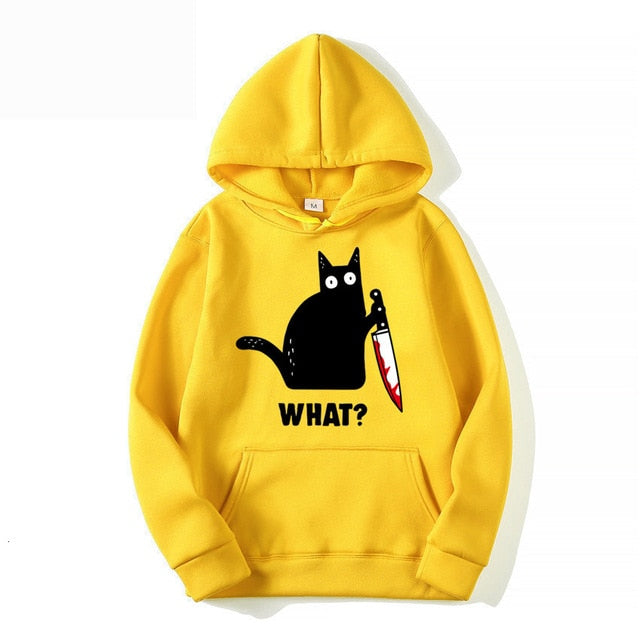 Murderous Cat With Knife Funny Unisex Hoodie (5935976743092)