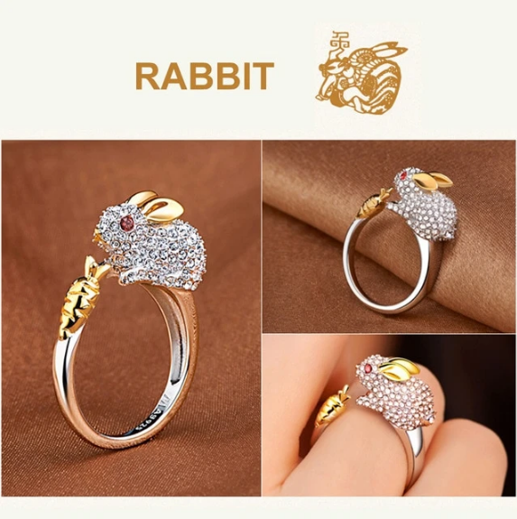 Unique Adjustable Silver Plated Rabbit Crystal Ring (5935934800052)