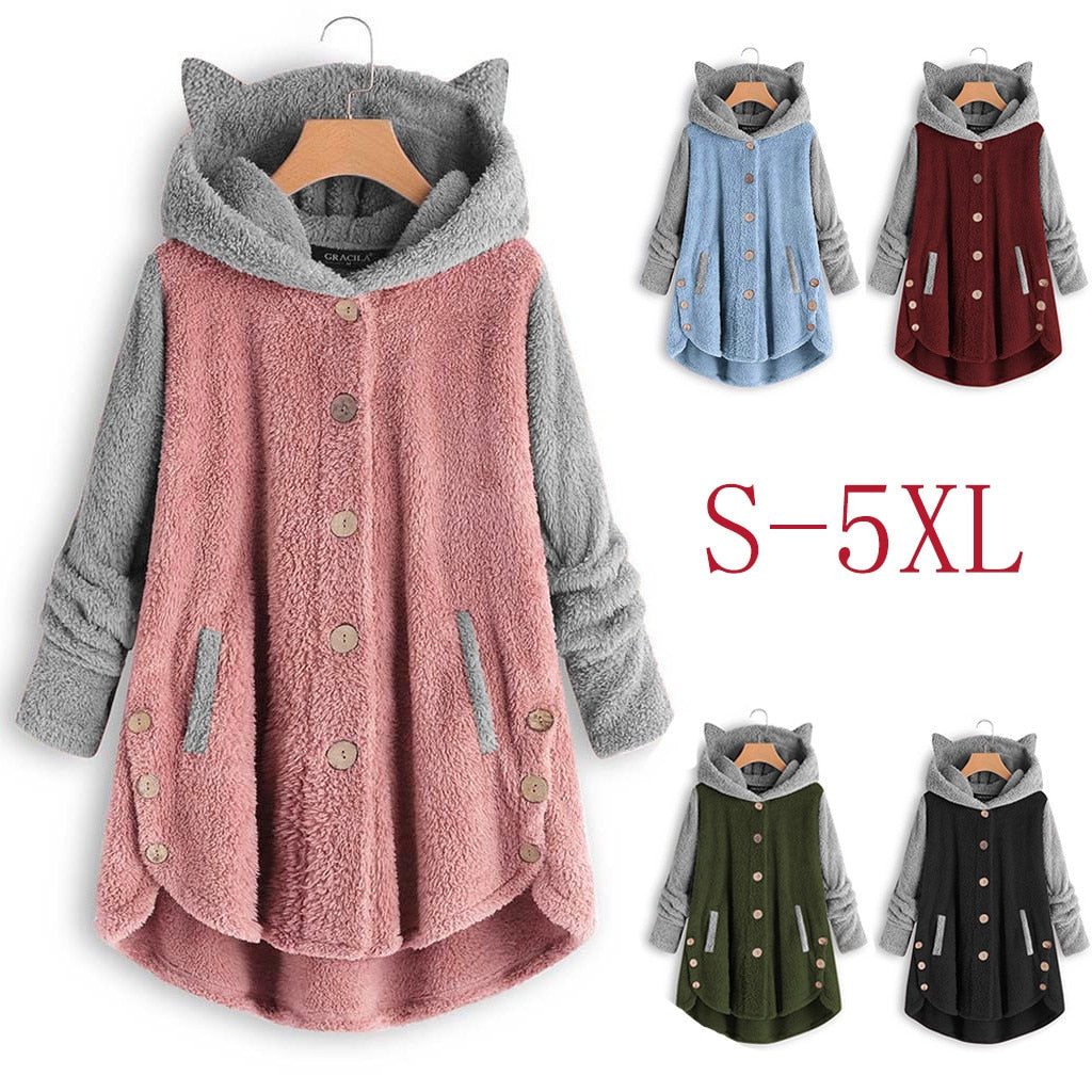 Bi-Color Cute Cat Fleece Coat Hoodies With Cat Ears (5935968485556)