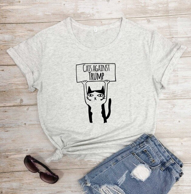 Cats Against Trump Cool  Women's Shirt (5946616152244)