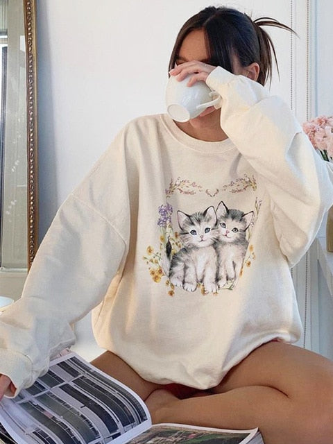 Cute Cats  Women's Sweatshirt (5935980806324)