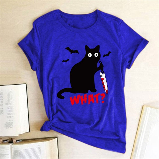 Black Cat What Tshirt Murderous Cat Knife Women's Shirt (5946615955636)