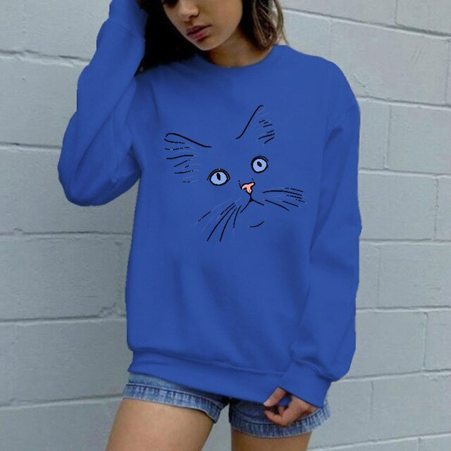 Cute Cat Face Women's Sweatshirt (5935986770100)