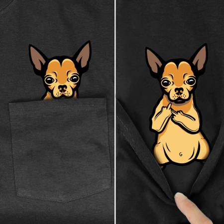 Chihuahua Middle Finger Pocket T-Shirts