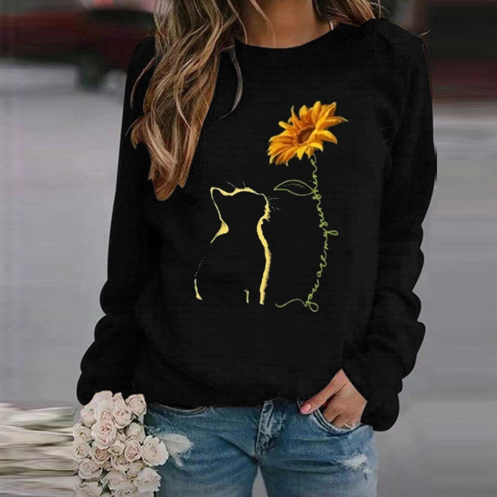Ladies Cat Print Sweatshirt (5970190926004)