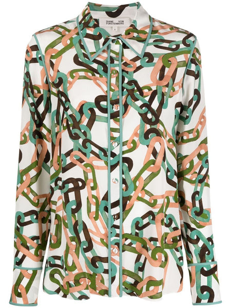 Diane von Furstenberg Kate Silk Modern Chain Blouse  Edit alt text