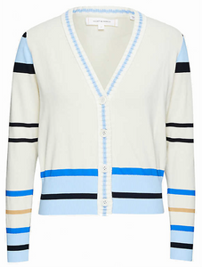 Striped V-neck cotton-knit cardigan