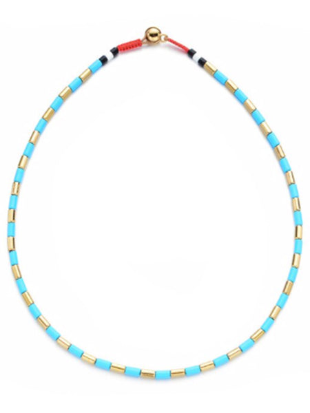 Turquoise Gold Enamel Necklace