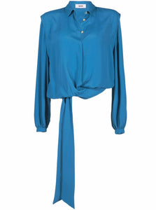 Grifoni Camicie Fake Wrap Blouse Blue