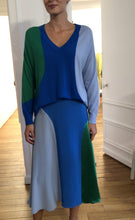 Load image into Gallery viewer, Colour-blocked Silk Midi Skirt