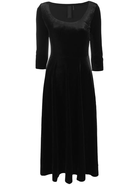 Norma Kamali Velvet Scoop Neck Dress