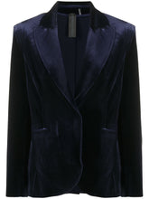 Load image into Gallery viewer, Norma Kamali Velvet Single Breasted Blazer Midnight