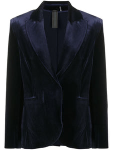 Norma Kamali Velvet Single Breasted Blazer Midnight