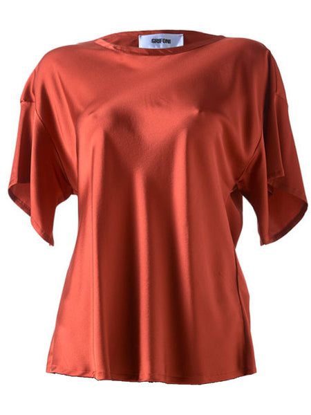 Grifoni Silk Stretch T-Shirt Red