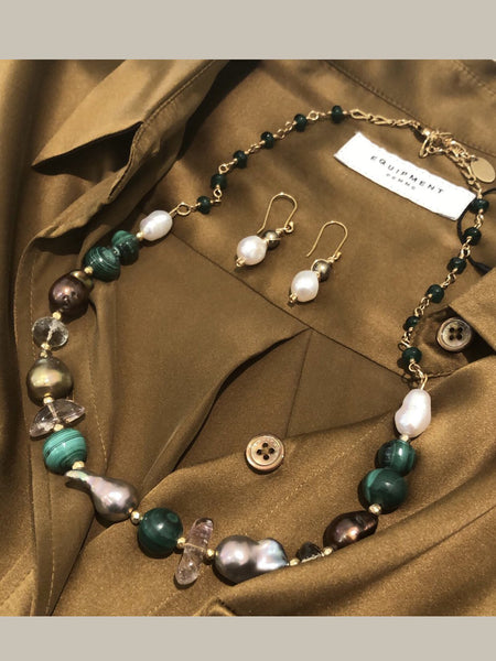 Fresh Pearl Necklace with Malachite