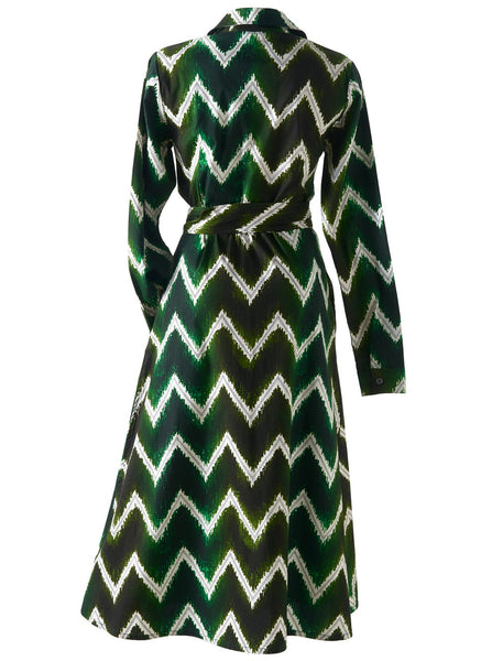 Wrap dress cotton ikat green