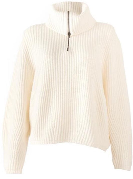 Nude Cable Zip Rollneck