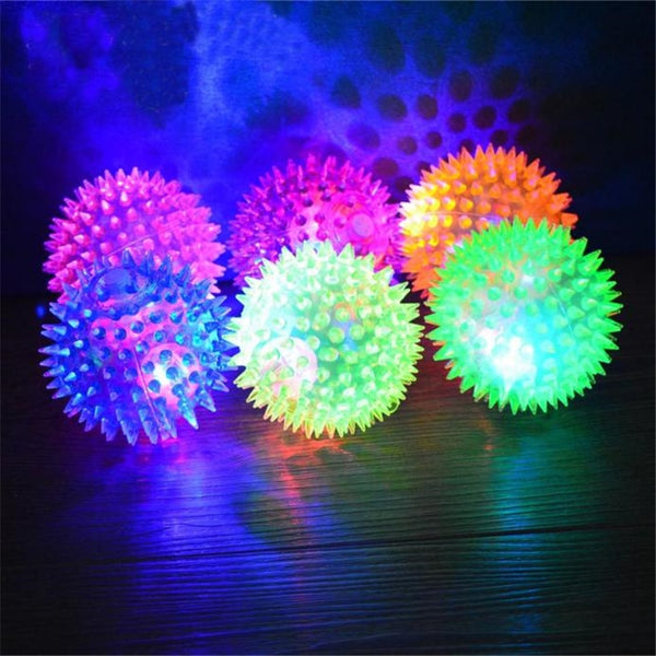 Pet Dog Cat Luminescent Hedgehog Rubber Ball Puppy Kitten Colored Light Bell Sound Ball Fun Play Toy Training 7.5cm Pet Toys