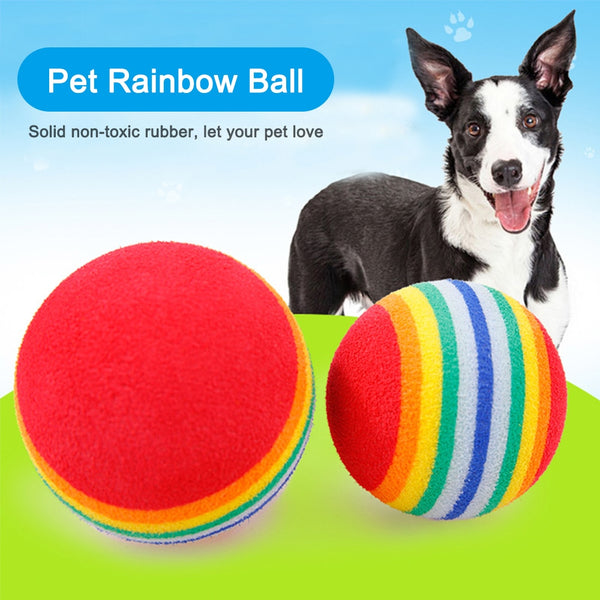 Funny Pets Dog Training Interactive rainbow Ball Puppy Cat Ball Teeth Toy EVA Chew Dogs Play Fetching Ball Toys Pet Supplies