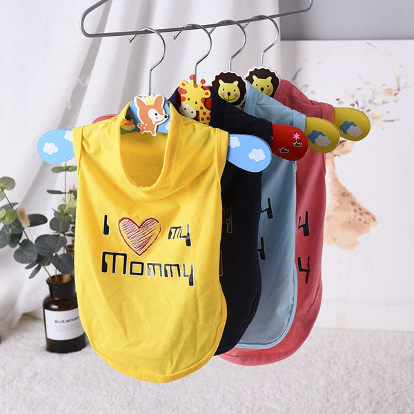 Lovely Mom Dad Pet Dog Clothes Summer Puppy Tshirt Vest for Small Dogs Shih Tzu Pug Shirts Wholesale Dog Clothing Pets Products