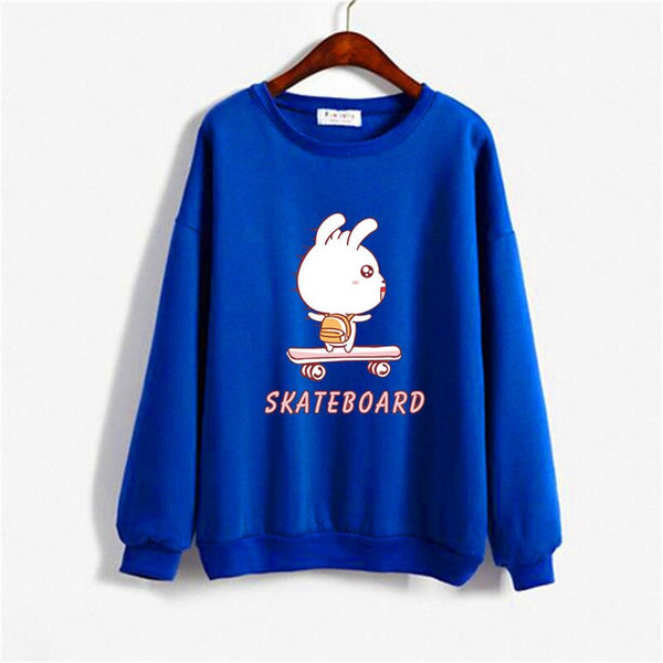 Men Hoodie Women Sweatshirt Tops Autumn 2019 Winter Kawaii Cartoon Rabbit Dog Print Couple Harajuku Hoodies Oversize Men Clothes
