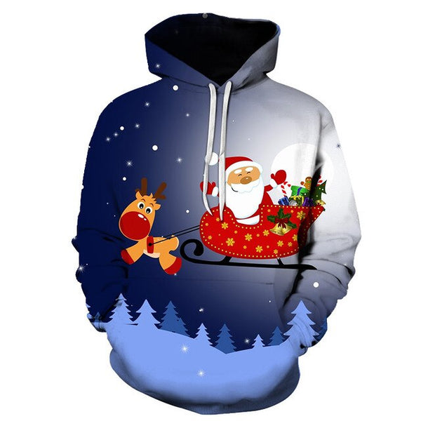 2018 New Men 3D Sweatshirts Christmas Hoodies  Pug Snow Tree Hat Deer Cat Dog Santa Claus Brand Clothing Hoodie