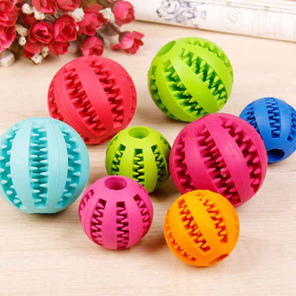 Puppy Dog Pet Dog Cat Rubber Ball Chew Treat Fetch Fun Play Toy Training Dental