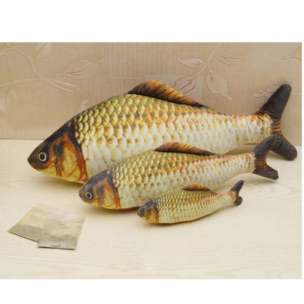 Hot Funny Artificial Grass Carp Kitten Fish Plush Pet Cat Puppy Sleeping Cushion Fun Toy Gadget Stuffed Pillow Soft Stuff Toys