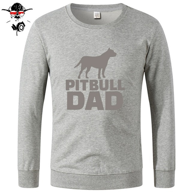 Concert Pitbull Dad Dog Men's Sweatshirts LONG Sleeve Clothes Print Men's Cotton Round Neck Grey Men Hoodies, Sweatshirts