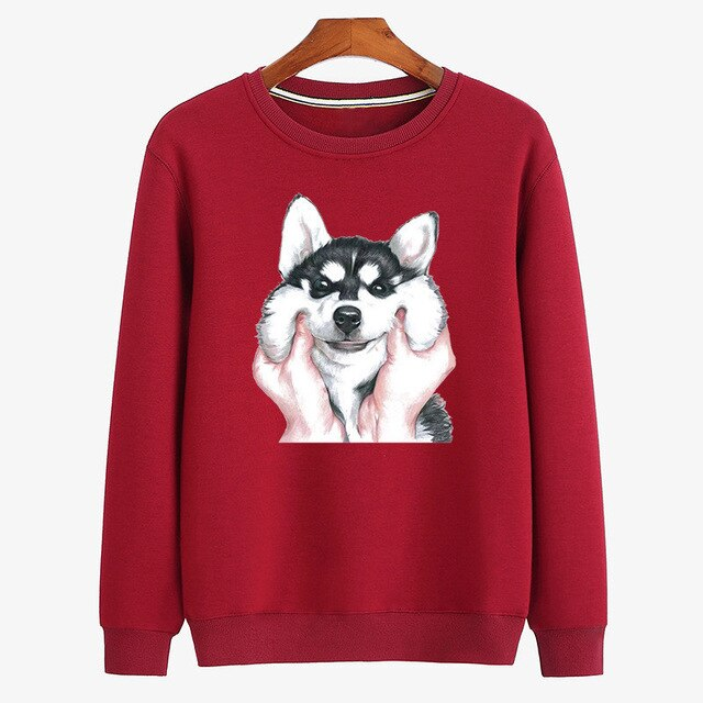 Funny Print Pullovers Cotton Men Husky Animal Dog Sweatshirt Hoodie without Hood Cartoon Shirts Man Autumn Winter Clothes Black