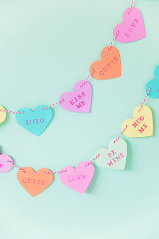 Candy Heart Garland, Decorating Your Ice Cream Shop for Valentine's Day