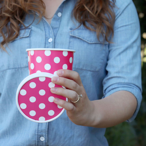 Pink Polka Dot Take Out Cup, All the Ice Cream Shop Supplies You Need to Start Your Shop