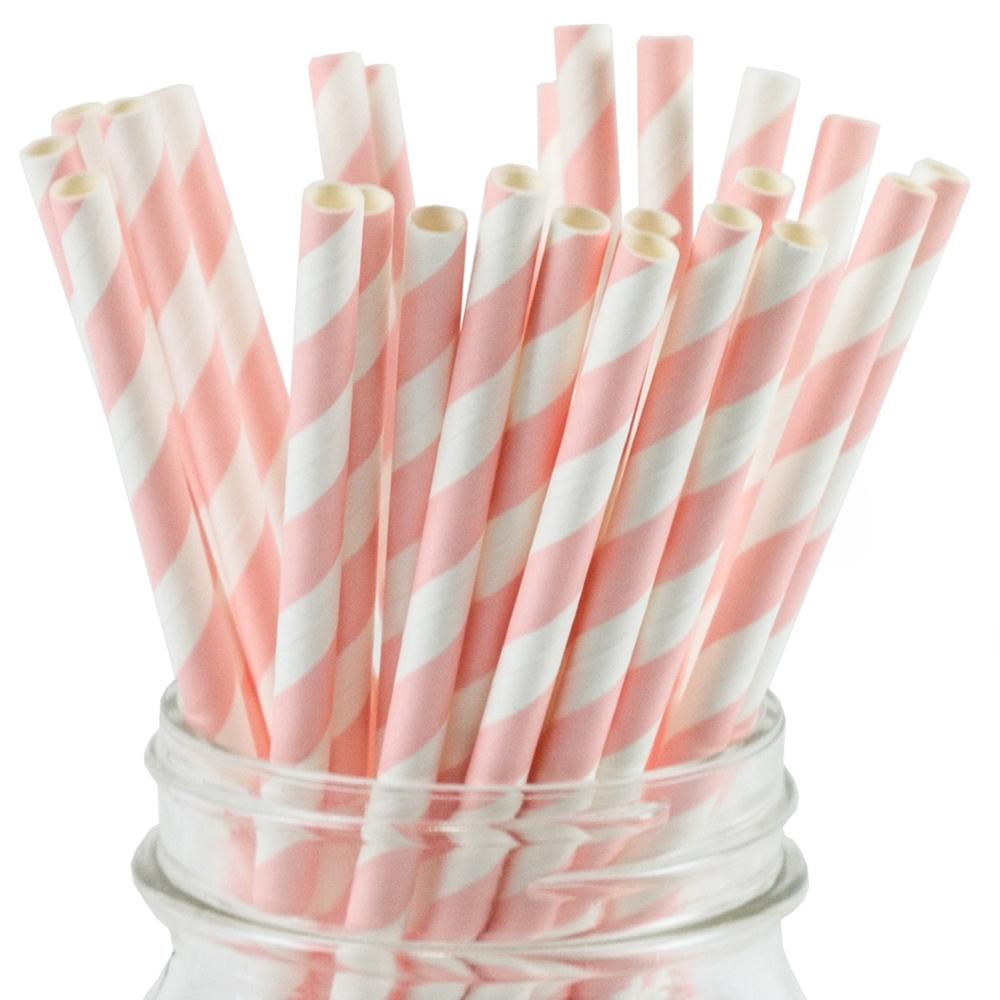 UNIQ® Pale Pink Striped Paper Straws