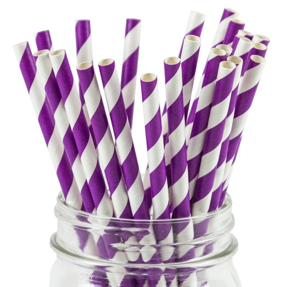 UNIQ® Purple Striped Paper Straws