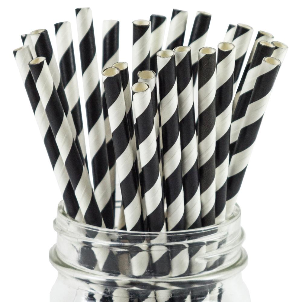 UNIQ® Black Striped Paper Straws