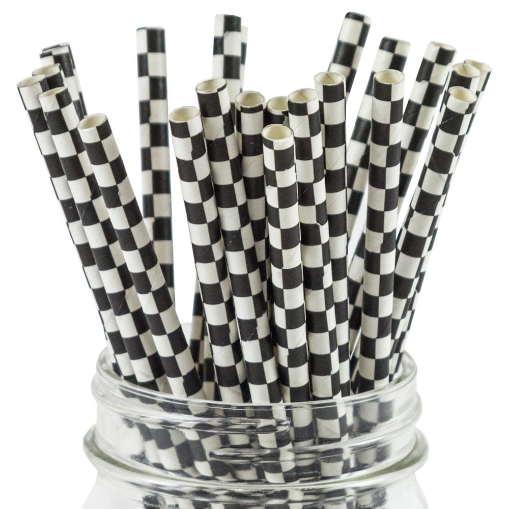 UNIQ® Black Checkered Paper Straws