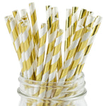 UNIQ® Gold Striped Foil Paper Straws