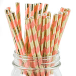UNIQ® Coral and Rose Gold Striped Foil Paper Straws