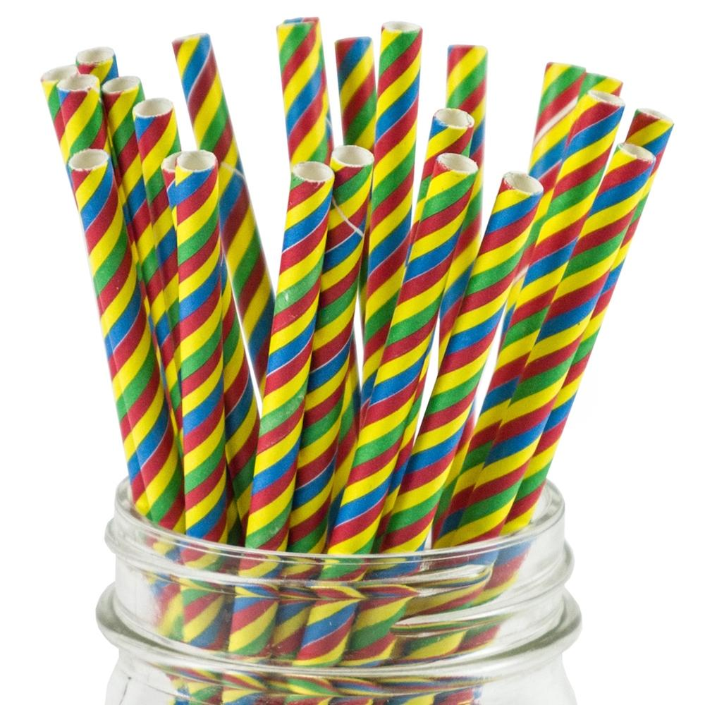 UNIQ® Rainbow Striped Paper Straws