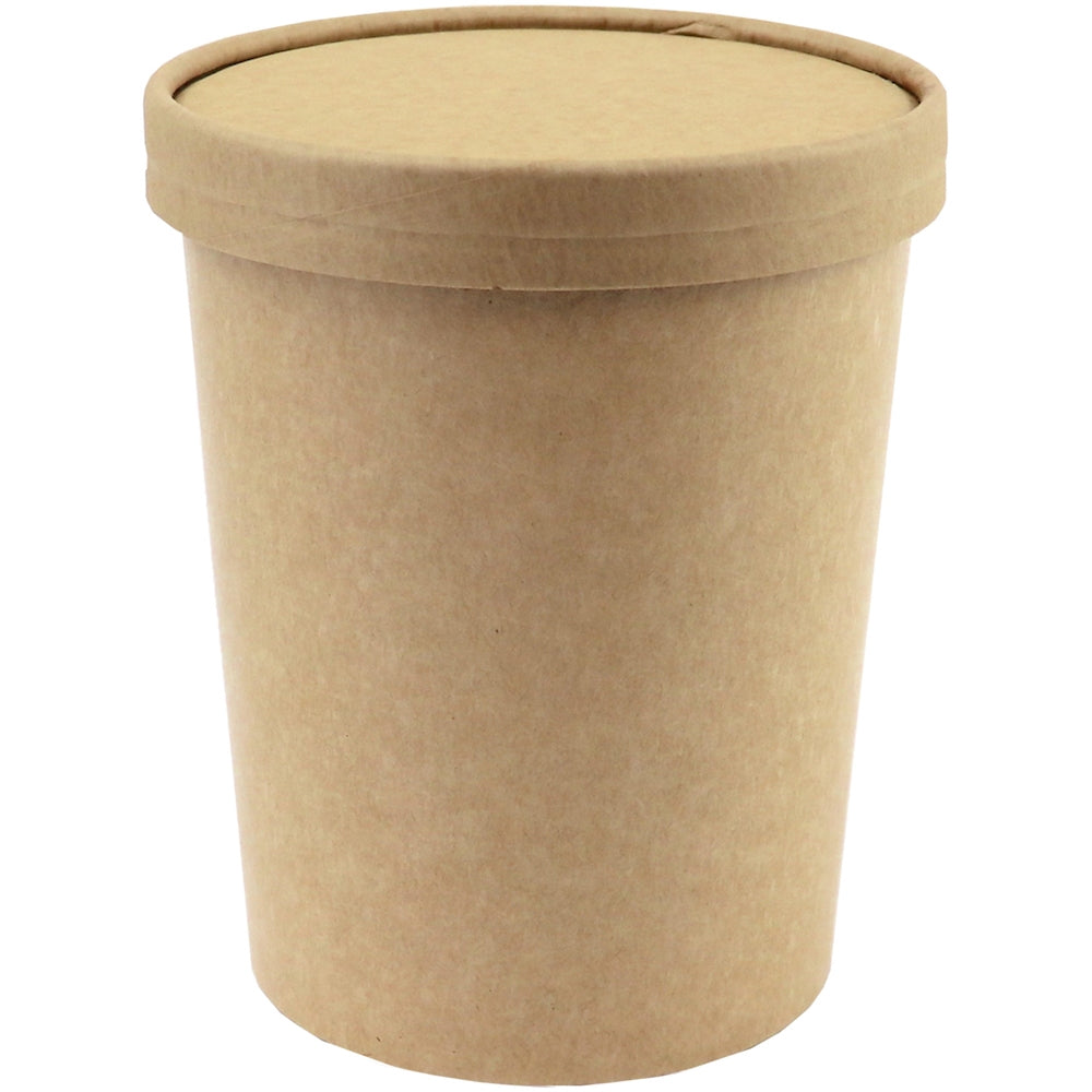 UNIQ™ Quart 32 oz Kraft Ice Cream To Go Containers With Non-Vented Lids