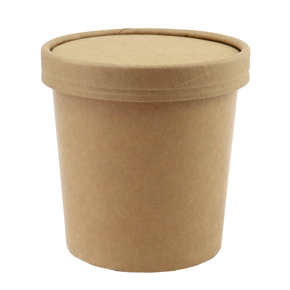 UNIQ™ Pint 16 oz Kraft Ice Cream To Go Containers With Non-Vented Lids