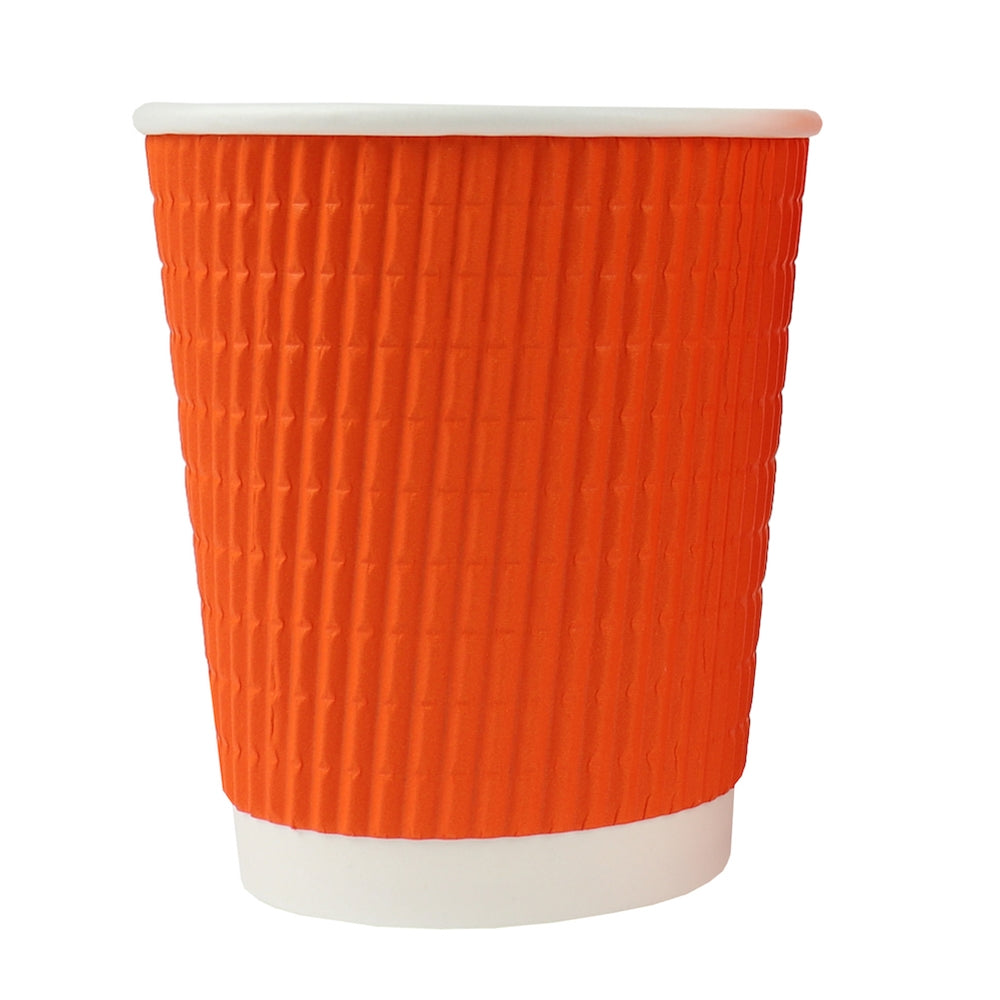 UNIQ® 8 oz Orange Ripple Double Wall Paper Cup