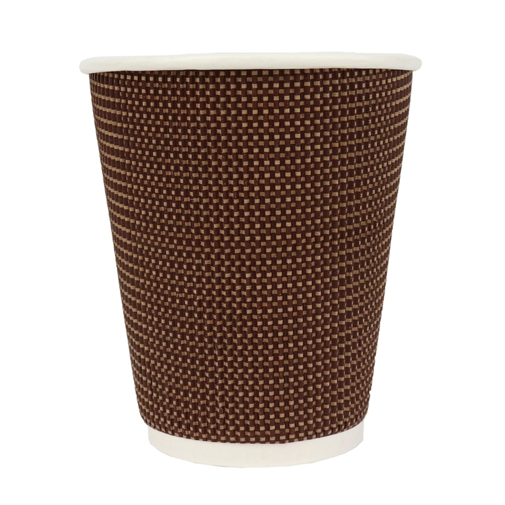 UNIQ® 10 oz Brown Tweed Double Wall Paper Drink Cups