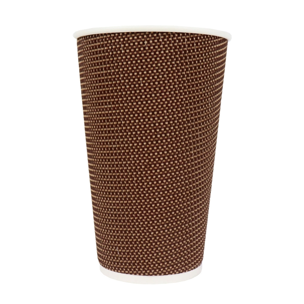 UNIQ® 16 oz Brown Tweed Double Wall Paper Drink Cups