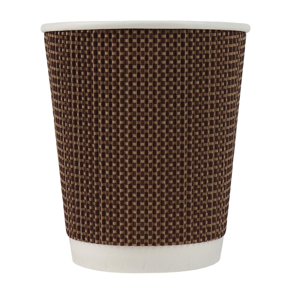 UNIQ® 8 oz Brown Tweed Double Wall Paper Drink Cups