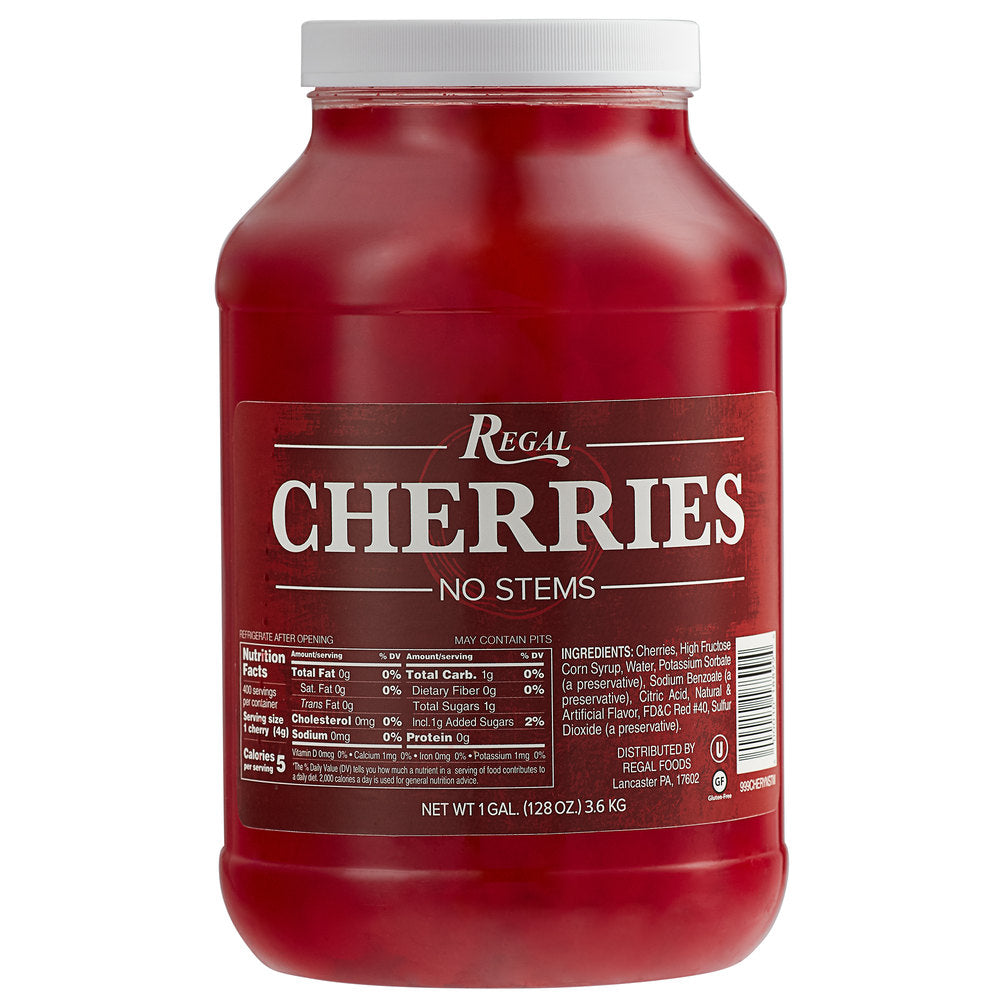 Regal Maraschino Cherries Without Stems - 1 Gallon