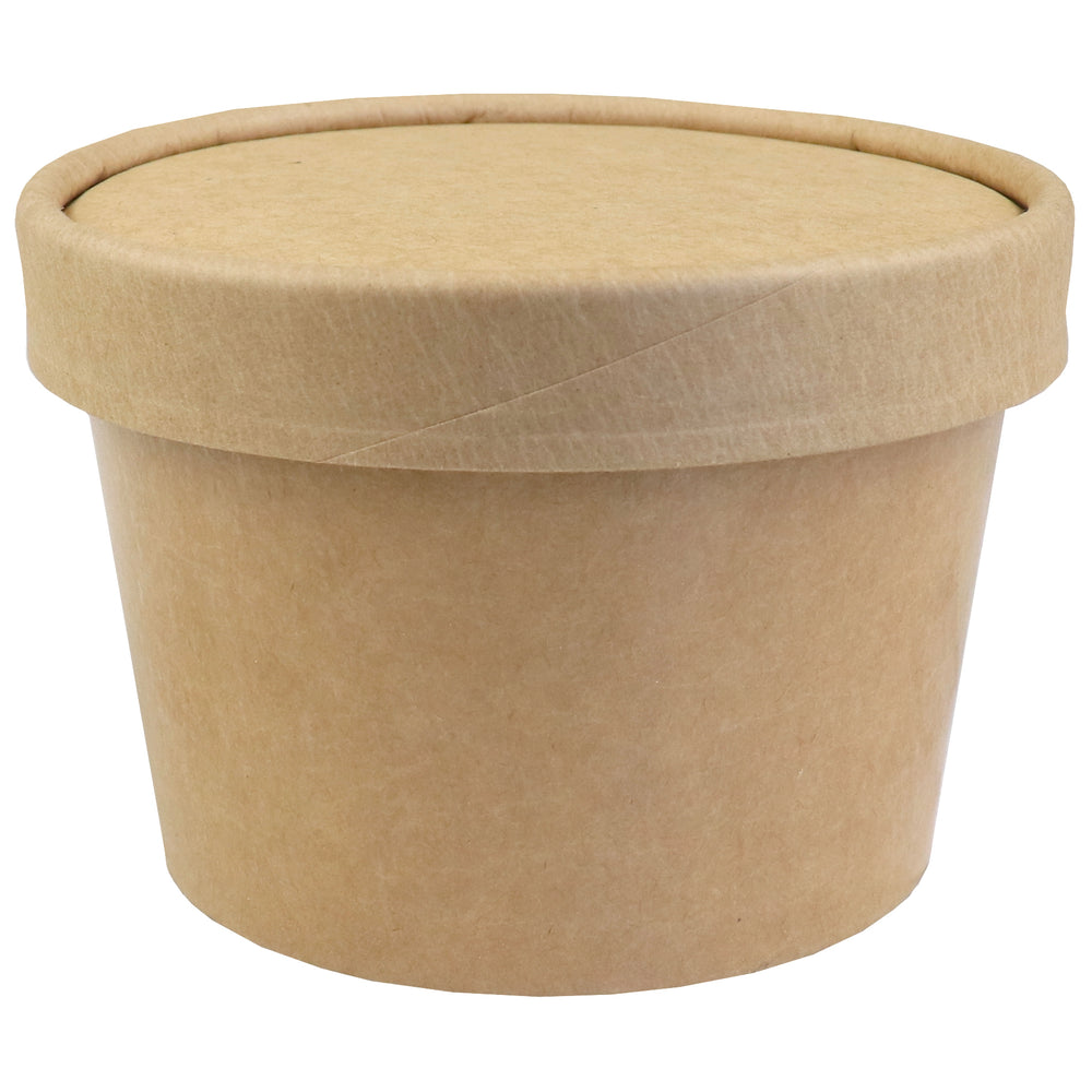 UNIQ® 8 oz Kraft Ice Cream To Go Containers With Non-Vented Lids